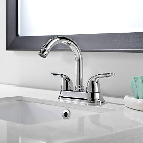 Comllen Best Commercial Centerset Two-Handle Lavatory Chrome Bathroom Sink Faucet, Bathroom Faucets Chrome Finish Without Drain Stopper by Comllen (Image #5)