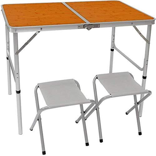 AMANKA Mesa para Acampada 90x60x70cm Incl 2 Taburetes Plegable portátil como si Fuera un maletín Altura Regulable para pícnic Camping Bambú