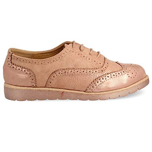 con Oxford Metalizado Tipo Efecto Piso de Zapato con Cordones Goma con Redondos qwdPxnIntC