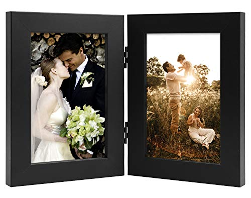 Golden State Art, Decorative Hinged Table Desk Top Picture Photo Frame, 2 Vertical Openings, with Real Glass (4x6 Double, Black)