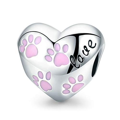 MUERDOU 925 Sterling Silver Charm fit Pandora Charms Bracelet Necklace Pink Enamel Dog Paw Girl Family Tree Charm Birthday Gifts Jewelry (Heart Charm) ()