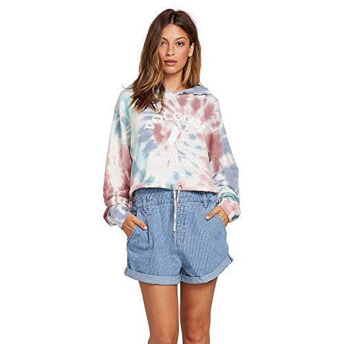 (Volcom Junior's Women's Knot It Tie Dye Hooded Sweatshirt, Multi, Extra Small)