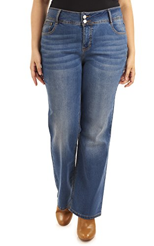 Angels Plus Size Basic Curvy Bootcut Jeans in Baltic (Plus Size Angel)