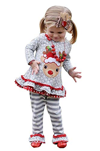 Christmas Girl Outfits,Fineser Cute Toddler Kids Baby Girl Christmas Deer Ruffle T-Shirt Tops+Stripe Flare Pants Outfits Sets (Gray, 18-24 Months(80))