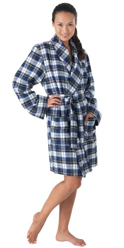 Classic Tartan Plaid Brushed Cotton Flannel Robe for Women, Small (4-6)