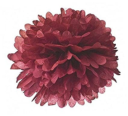 amazon com sunbeauty 15cm 5pcs burgundy color tissue paper pom poms
