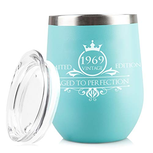 1969 50th Birthday Gifts for Women Men Tumbler | Vintage Anniversary Gift Ideas for Mom Dad Husband Wife | 50 Year Old Party Decorations Supplies for Him Her | 12 oz Stainless Steel Insulated Cups ()