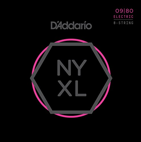 D'Addario NYXL0980 Nickel Plated Electric Guitar Strings,Super Light,8-String,09-80 - High Carbon Steel Alloy for Unprecedented Strength - Ideal Combination of Playability and Electric Tone