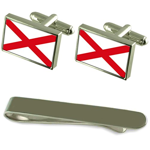 St Patrick?s Cross Flag Silver Cufflinks Tie Clip Engraved Gift Set by Select Gifts