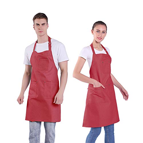 BIGHAS Denim Apron with 4 Pockets for Women Men Adjustable Chef Cooking Kitchen Gardening Grill Café 6 Colors (007 Red)