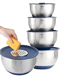 CheckOut VonShef Professional 5 Piece Mixing Bowl Set - Stainless Steel with Lids, Non-Slip Surface and 3 Grater Attachments occupation