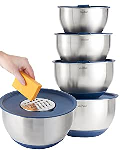 VonShef Stainless Steel 5 Piece Mixing Bowl Set - with Lids, Non-Slip Surface and 3 Grater Attachments