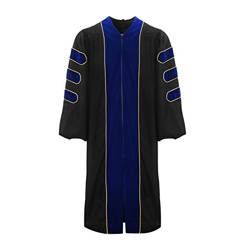 Deluxe Doctoral Graduation Gown-Royal Blue Trim Gold Piping(Royal Blue Size 54) by lescapsgown (Image #1)