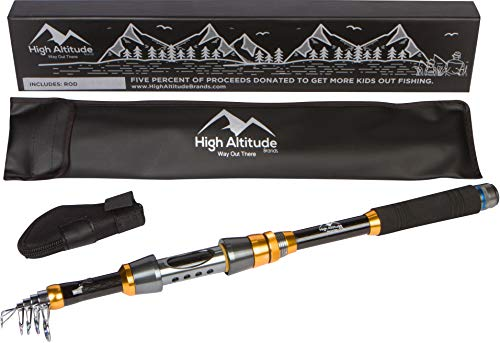 High Altitude Lightweight 6 Foot Backpacking Telescopic Fishing Pole Rod
