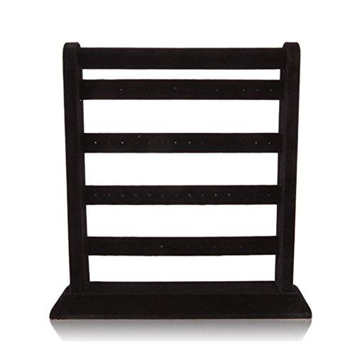 F&U Jewelry Frame Velvet Earrings Holder Earring Display Stand Display Shelf Show Case Organizer (black, L)
