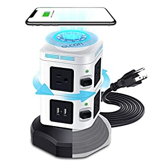 Surge Protector Power Strip Tower With USB,Smart Multi Outlet Plug With Universal Electric Socket [Long Retractable Extension Cord][10 Outlet Plugs] 4 USB Slot, 6.5 feet