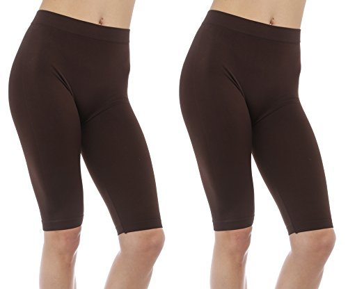 2 Pack Women's Seamless Stretch Yoga Exercise Shorts Brown (Brown Bermuda)