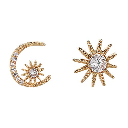 Eiffy Asymmetrical Crystal Star Crescent Moon Sun Stud Earrings for Women Girls Statement Ear Jewelry (Gold)
