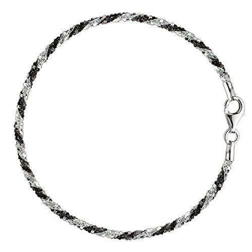 Sterling Silver White Anklet (Black And White Sparkle Style Chain Anklet In Sterling Silver,)