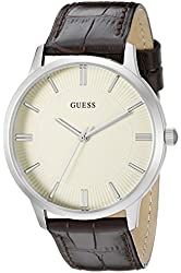 GUESS Men's U0664G2 Classic Silver-Tone Watch with Brown Genuine Leather Strap