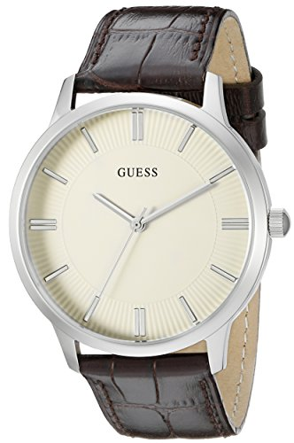 GUESS Men's U0664G2 Dressy Silver-Tone Watch with Plain White Dial  and Genuine Leather Strap Buckle