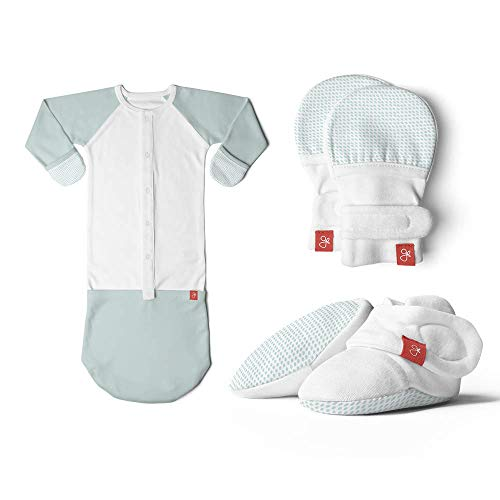 (Newborn Baby Mittens, Booties & Sleep Sack Pajamas Bundle, Organic, Soft & Adjustable (Drops/Aqua, 0-3 Months) )