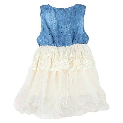 Metee Dresses Girl Princess Tulle Skirt Denim Dress Kids Lace Layered Party Dress