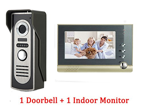 YuHan Home Wired Video Door Phone 7 Inch Monitor Audio Visual Intercom Entry Access System For House Villa