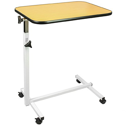 Bedside Tray Table (Overbed Table by Vive - Swivel Tilt Top Rolling Tray Table - Adjustable Bed Table for Home or Hospital - Laptop, Reading & Breakfast Cart for Bedridden Patients )