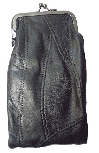 Lambskin Patched Leather - Black Patched Lamb Skin Cigarette Case with Zipper Pocket and Lighter Case Fit 100 and 120's
