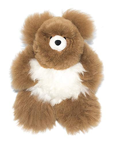 Incatrade 9 in. Brown and White Alpaca Fur Teddy Bear. 100% Baby Alpaca Fur. Stuffed - Fur Teddy Bear