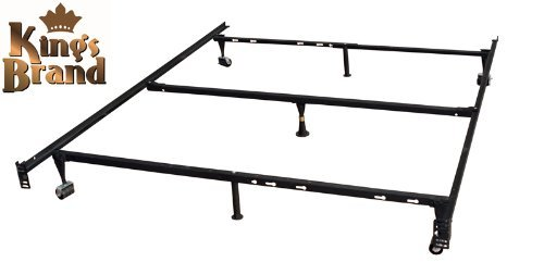 Kings Brand Furniture 7-Leg Adjustable Metal Bed Frame with Center Support Rug Rollers and Locking Wheels for Queen/Full/Full XL/Twin/Twin XL Beds (Full Size Bed Rails)