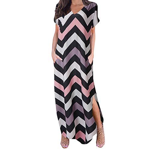 Masun Women's Fashion Summer Vintage Bohemian Women's Casual Sleeve V-Neck Print Maxi Tank Long Floor-Length Dress Brown