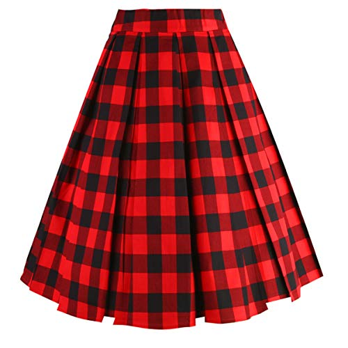 (Dresstore Vintage Pleated Skirt Floral A-line Printed Midi Skirts with Pockets Black-Red)