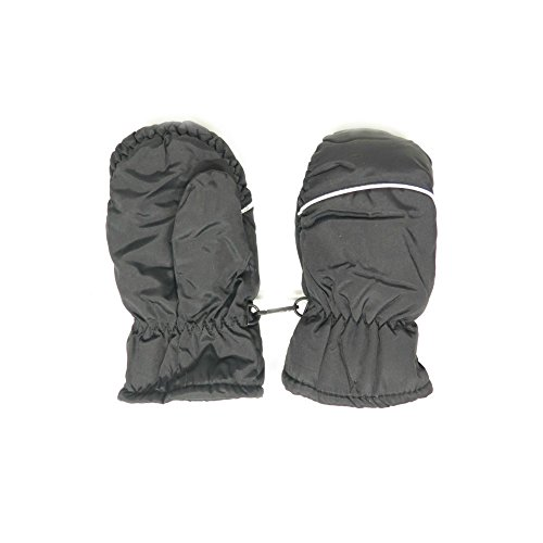 Magg Kids Toddlers Fleece Lined Winter Snow Glove Waterproof Assorted Solid Color 2-4T mittens (Black)