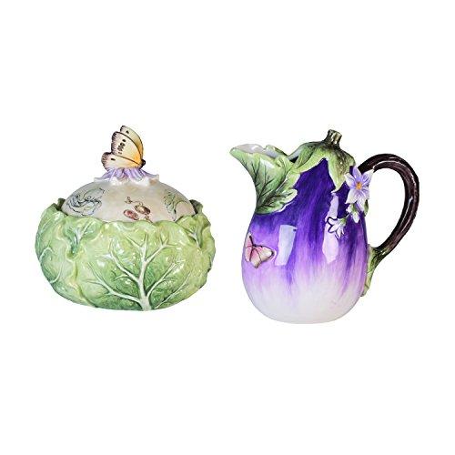 Fitz and Floyd 21-032 Fattoria sugar and creamer set, 5.8 x 5.8 x 5.5 inches, Green/Purple (Dinnerware Purple Floral)