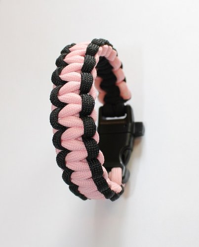 """SENC Glow in the Dark Paracord Bracelets with whistle buckles (Pink/Black, 7.5"""" Total Length - Childs Size - fits 5.5"""" wrist and smaller)"""