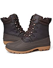 gracosy Men's Winter Snow Boots Rain Shoes Waterproof Lace Up Hiking Walking Boots Fur Lined Warm Ankle Hunter Boots Anti-Slip Climbing Boots High RiseTrekking Shoes Outdoor Casual Work Ankle Shoes