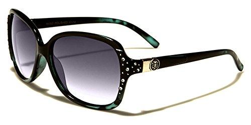 Kleo femme lunettes de soleil ovale Papillon Style Lentille dégradée parfait pour Every Day usage et conduite COMPLET UV400 Protection beachhutsunglasses microfibre poche inclus noir / VERT / verre noir