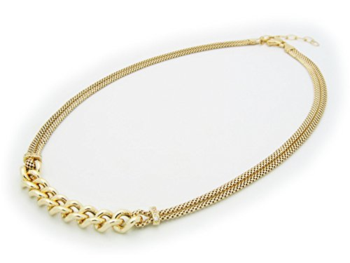 Fronay Co .925 Sterling Silver Double Mesh Links Necklace Dipped in 14k Gold ()