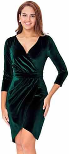 InsNova Women's Long Sleeve Velvet Bodycon Wrap Dress for Wedding Guest