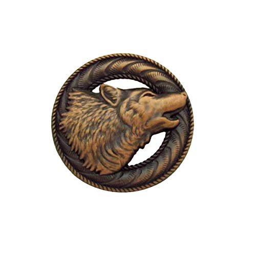 (Copper Howling Grey Dire Wolf Concho Leathercraft Accessory)