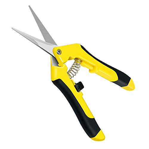 iPower GLPRNR6 6.5 Inch Pruning Shears Hand Pruner for Gardening Potting with Straight Stainless Steel Blades, Yellow