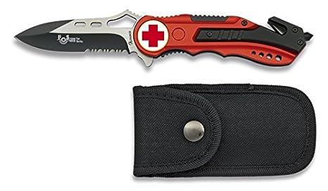 Albainox 19626GR1028 - Navaja Roja Seguridad Cruz Roja, Mango de Aluminio, Hoja con Sierra de 6.5 cm, Incluye Punta Rompevidrio y Cutter Cinturón, ...