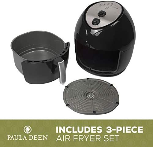 Paula Deen 9.5 QT (1700 Watt) Family-Sized Air Fryer, Rapid Air Circulation System, Single Basket, Ceramic Non-Stick Coating, Simple Knob Controls, Timer with Auto Shut-Off, 50 Recipes (Black)