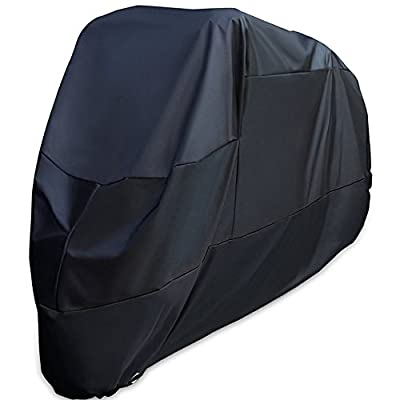 XYZCTEM XXXL Large Oxford Waterproof Sun Motorcycle Cover,Made of Heavy Duty Material and 114 inch length,Fits for Harley Davison and All motors(Black)