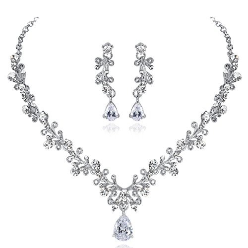 mecresh Bridal Austrian Crystal Necklace and Earrings Jewelry Set Gifts fit with Wedding Dress ()