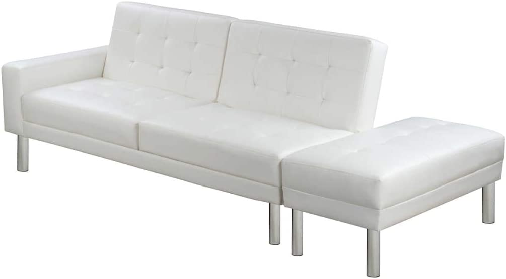 vidaXL Sofá Cama de Cuero Artificial Blanco Sala de Estar Descanso Dormitorio