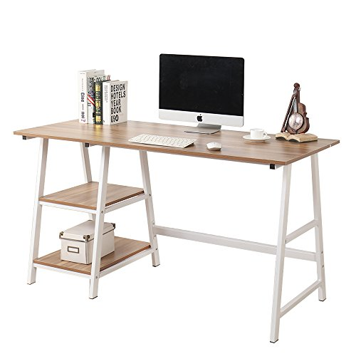 (Soges 55 inch Trestle Desk Computer Desk Writing Desk Home Office Desk Hutch Workstation with Shelf, Oak CS-Tplus-140OK-U)
