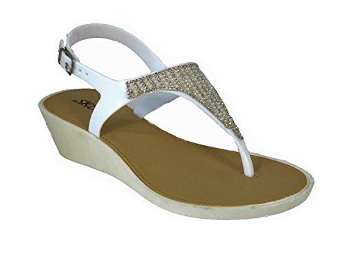 pour SKO'S White 289 Sandales Femme 2159 UUqw51